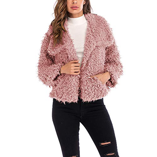 (AMUSTER Damen Mantel Plüschjacke Winter Winterjacke Daman Langarm Plüsch Revers Mantel Teddy-Fell Fellimitat Jacke Tunika Parka cardigan Strickjacke)