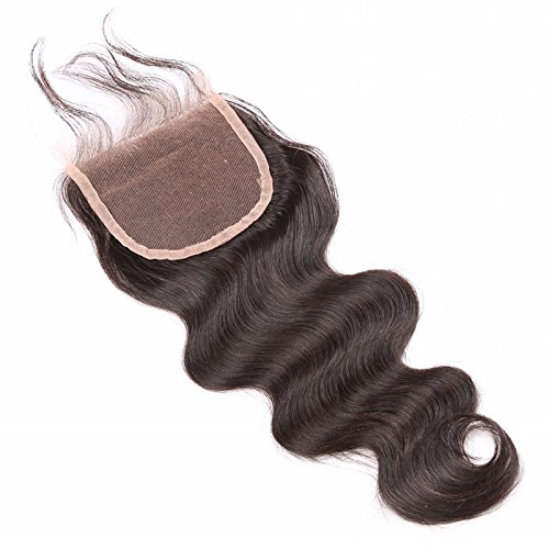 sexyqueenhair/cheveux bouclés Fermeture cheveux malaisiens vierges 61 cm haut Fermeture (4 x 4) couleur naturelle