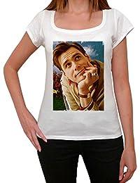 Jim Carrey 1, tee shirt femme, imprimé célébrité,Blanc, t shirt femme,cadeau