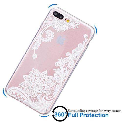 Coque iPhone 7 Plus, SpiritSun Etui Coque TPU Slim Bumper pour Apple iPhone 7 Plus (5.5 pouces) Souple Housse de Protection Flexible Soft Case Cas Couverture Anti Choc Mince Légère Transparente Silico Lotus Fleur Blanc