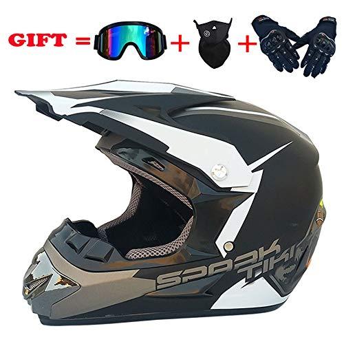 ZJRA Matte Black/Motocross Helm, Beach Racing Dirt Bike Helm Adult MX Fox Männer Und Frauen ATV, DOT (Handschuhe, Brillen, Masken, 4Er Set),S54~55cm (Helme Racing Fox Dirt Bike)