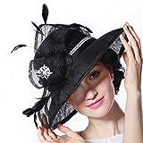 June's Young Damen-Hüte Sinamayhut Sommer Hut Sonnenhut eleganter Hut mit Feder,Stein,Schmuck bowler hut Top hat