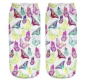Ferocity Lustige Socken Sneaker Halbsocken Strümpfe Sportsocken Füßlinge mit Motiv 3D Butterfly [001]