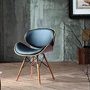 Retro Style DSW Black Faux Leather Eiffel Dining Office Chair Wood Legs Walnut Finish