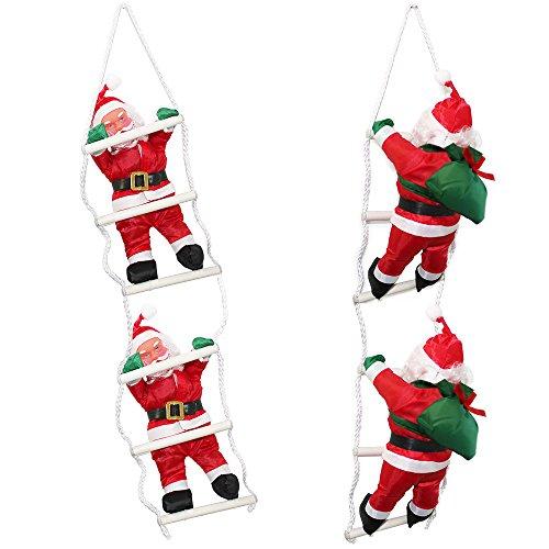 Babbo natale sulla scala 65cm decorazione con babbo natale personaggio natalizio santa claus