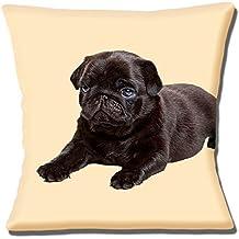 Cute oscuro marrón negro de CARLINO perro en color crema 16 (40 cm) almohada coj