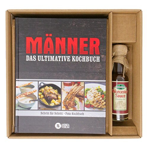 Geschenkset LE CHEF, großes Kochbuch für Männer+ Worcester-Sauce, Bilderkochbuch