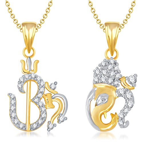 Meenaz Om Ganpati God Pendant&Locket With Chain Jewellery Set Gold Plated Cz In American Diamond For Men&Women ,Girls Com140  available at amazon for Rs.190