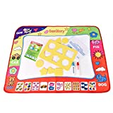 SanGlory Water Drawing Mat Magic Drawing Painting Doodle Mat With 2 Water Pen & 6 Stamps & a Doodle Water Book - Best Handwriting Gifts for Boys & Girls Age 2 3 4 5 6+ Years Old (Standard Package)