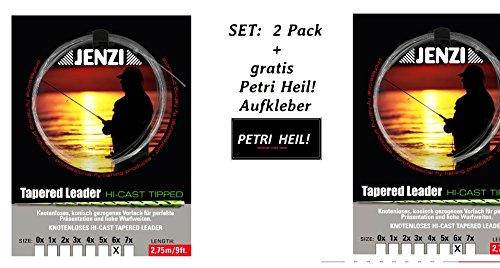 SET: 2 Pack Tapered Leader- Fliegenvorfach 6x / 0,14/ 0,28 + gratis Petri Heil! Aufkleber