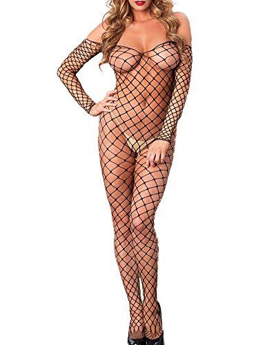 Romacci Damen Off Schulter Backless Fishnet Unterwäschen Bodystockings Spitzenbody Bodysuit Nachtwäsche Dessous (Bodystocking Schulter)