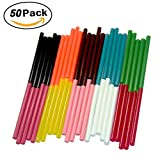 Ewparts 50 pack mini colored art craft hot glue gun adhesive sticky sticks , 7mm*100mm (Non-Glitter colored *50 pc)