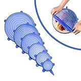 Silikondeckel stretch Dehnbar Silikon Lid Frischhalte Folie in verschiedenen Größen für Dosen, Becher, Gläser, Töpfe, Tassen, Gemüse, Obst(6 Stück, Blau)