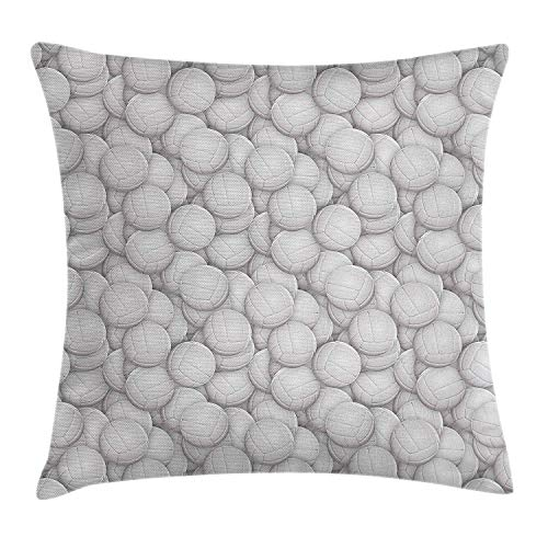 Volleyball Throw Pillow Cushion Cover, Three Dimensional White Balls Sports Equipment Digital Composition Team Event, Decorative Square Accent Pillow Case, 18 X 18 inches, Pale Grey - 8. Ms-team