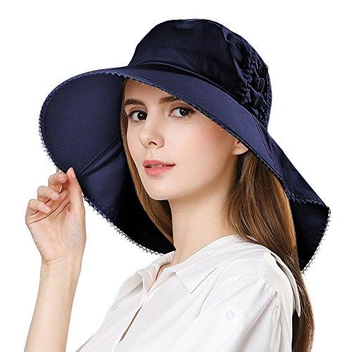 Damen Sonnenhut UPF 50 faltbarer Sommerhut breite Krempe Schwarzblau SIGGI - Upf Damen Eimer Hut
