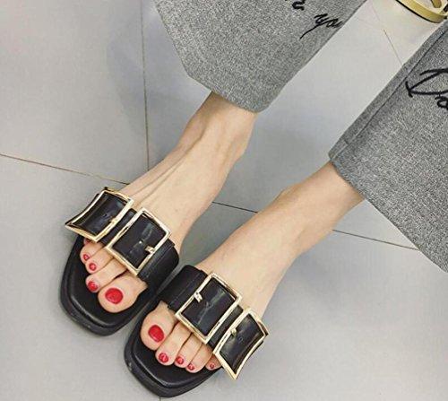 OL matrimonio Casual piatta aperta zehe spessore Cintura Doppia Fibbia Decorazione antiscivolo femminile donne Pantofole EU Taglia 35–39 Black
