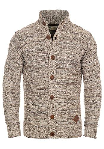 SOLID Mahir Herren Strickjacke Cardigan Grobstrick mit Stehkragen aus 100% Baumwolle Meliert, Größe:M, Farbe:Dune (5409)