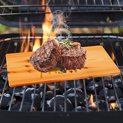 51r8 rUm 1L - IZIMU Grillbretter,Zedernholzbrett zum Grillen,Räucherbretter aus Zedernholz hergestellt aus 100% natürlichem Red Zedernholz,Grillbretter BBQ (2er Set)