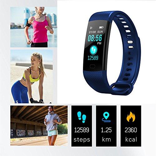 TechCode Smart Uhren Wasserdicht, Smart Armband Farbbildschirm Uhr mit Blutdruck Pulsmesser Armband IP67 Wasserdichte Aktivität Fitness Tracker Schrittzähler Smart Band (Dunkelblau)