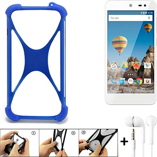 K-S-Trade Bumper General Mobile GM 5 Schutzhülle Handyhülle Silikon Schutz Hülle Cover Case Silikoncase Silikonbumper TPU Softcase Smartphone, Blau (1x), Headphones