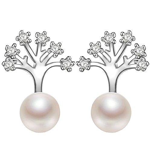 Dawanza-Damen Geschenke Ohrringe Damen-925 Sterling Silber Weiße Süßwasserzuchtperle-Baum des Lebens-Modischer Schmuck (Ohrring Für Frauen Bäume)