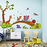 Prima05Sally Kawaii Big Jungle Animals Bridge PVC Adesivi murali Camera da Letto per Bambini Camera da Letto Decalcomanie Bambini Camera da Letto Decorazione vivaio