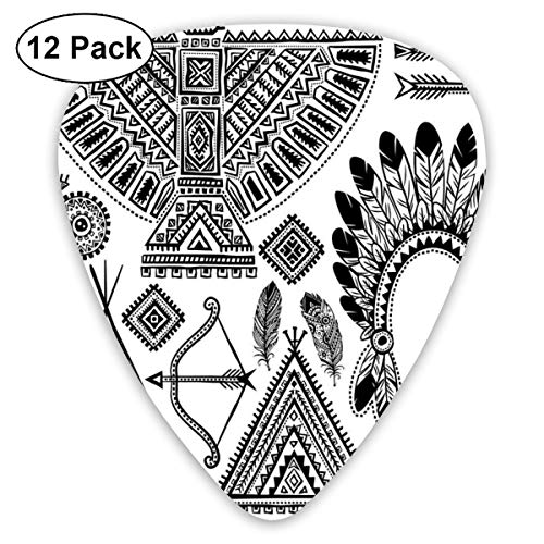 Guitar Picks - Abstract Art Colorful Designs,Native American Feather Head Band Ethnic Teepee Tent Bow And Arrow Art Print,Unique Guitar Gift,For Bass Electric & Acoustic Guitars-12 Pack
