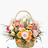 Florazone Garden of Roses Fresh Flowers Basket Arrangement of 25 Mix Roses