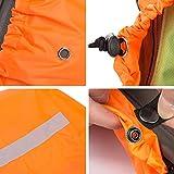 Overmont Wasserdicht Rucksack Regencover Regenabdeckung Regenschutz Regenschutzhülle mit Reflektierendem Streifen für Reisen Camping Radfahren (S/M/L) (Schwarz/Orangerot) - 5