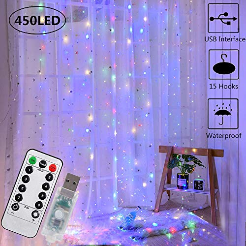 450 LED Curtain Lights, USB Plug in Window Lights 3mx3m 8 Modes Remote Control Timer Waterproof Upgrated LED Copper String Lights for Christmas Party Wedding Garden Bedroom Decoration(Multicolor)