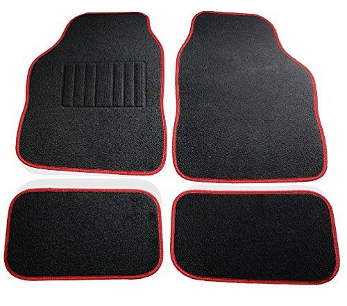 Safe travel 27652 tappetini universali per auto, set, auto con guida a sinistra, tallone saldato, bordo rosso