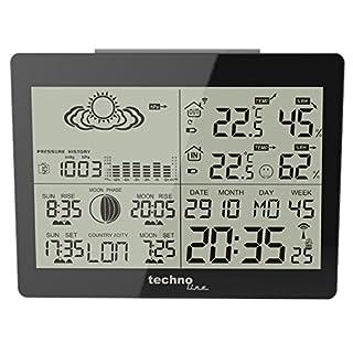 Technoline WS 6760 moderne Wetterstation mit Vorhersage von Wettersituation und Anzeige von Mondphasen in Form von Icons, hochglanz, schwarz, 17,1 x 5 x 12,3 cm