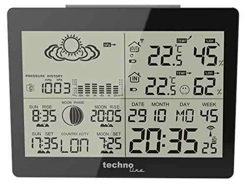 Technoline GARNI WS 6760 estación metereológica - Estación meteorológica Negro, Color Blanco, 14,700...