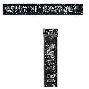 Gifts 4 All Occasions Limited SHATCHI-113 - Pancarta decorativa para fiesta de cumpleaños (3,6 m), color negro