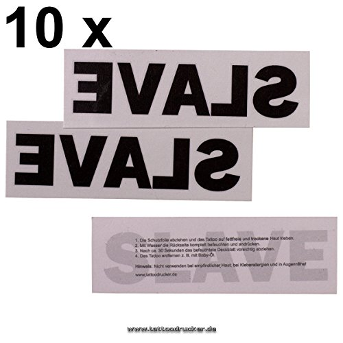 Preisvergleich Produktbild 10 SLAVE Tattoos - BDSM Schriftzug Slave als Tattoo in schwarz - temporary tattoo (10)