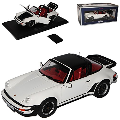 Modell 911 Porsche Turbo (Porsche 911 Turbo Targa Weiss G-Modell 1973-1989 1/18 Norev Modell Auto mit individiuellem Wunschkennzeichen)