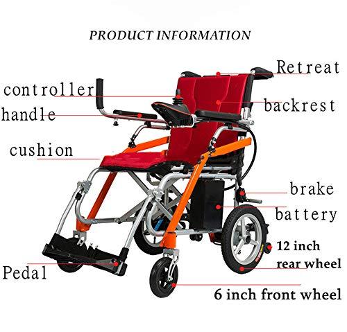 BUDAOWENG Sedia a rotelle Medica Professionale di Salute, Sedia a rotelle elettrica Pieghevole, sedie a rotelle Staccabili, per la Sedia a rotelle anziana, Facile da Usare, Durevole,Red