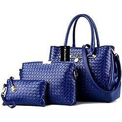 Alidear Moda Mujeres Bag Bolsos bandolera Mutil Function Bag Crossbody Bag Tote Carteras de mano Pu Azul Profundo