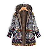 LoveLeiter Frauen Vintage Damen Fleece Dick Mantel Hoodie Pullover Strickjacke Winterjacke Dicke Wollmantel Outwear Floral Print Hooded Oversize Winter Parka Wintermantel Warm Winterjacken(Blau,XXXL)