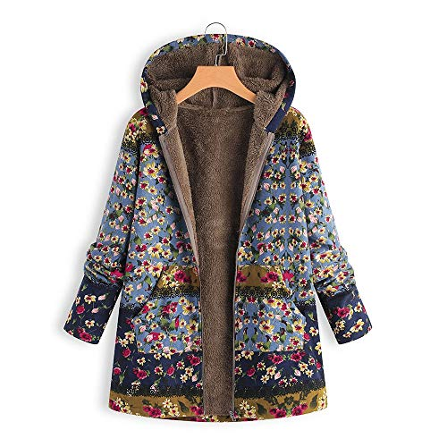 LoveLeiter Frauen Vintage Damen Fleece Dick Mantel Hoodie Pullover Strickjacke Winterjacke Dicke Wollmantel Outwear Floral Print Hooded Oversize Winter Parka Wintermantel Warm Winterjacken(Blau,S) -