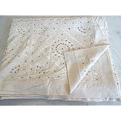 Edredón indio Textiles asiáticos Tribal cubierta de cama bordado hecho a mano manta espejo trabajo kanthra