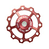 Lerway 2 Pcs Aluminium Jockey Wheel Rear Derailleur Pulley Guide Roller Idler 11T A-05 For SHIMANO SRAM (Red)