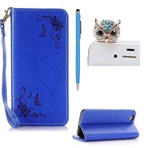 SKYXD Leder Hülle für iphone 6S iphone 6 Rosen Blumen und Schmetterlings Muster,PU Folio Klappbar SchutzHülle [Brieftasche Kartenfach / Magnet / Standfunktion / Trageschlaufe] KlappHülle für mit [Eule Handyanhänger + Eingabestift] 3 in 1 Zubehör Set Handy Tasche Etui for Apple iphone 6/6s Bookstyle Flip Case Leather Cover With [Free Stylus and Dust Plug]- Blau