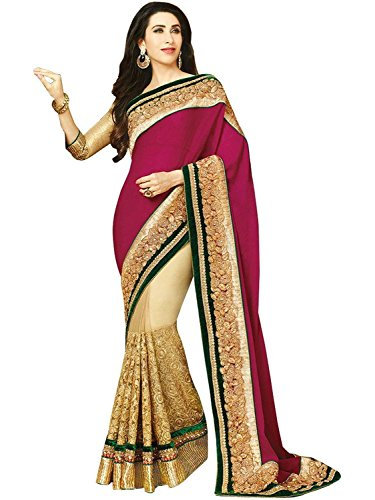 pushty fashion Karishma Kapoor Heavy Pink and Cream Net Designer Saree  available at amazon for Rs.1760