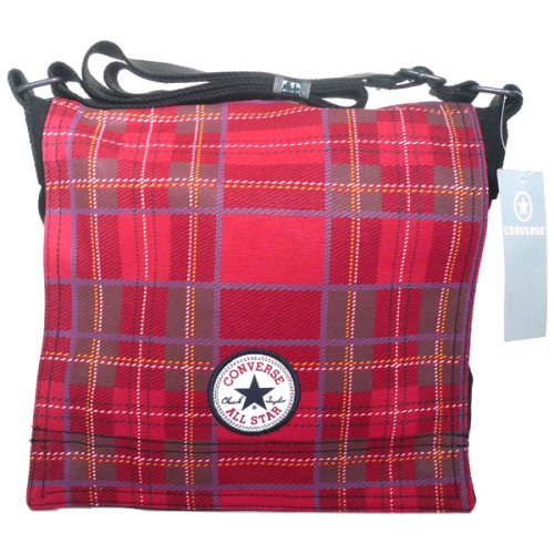 Converse Chucks Patch Paid Tartan Shopper Bag Rot Schwarz Tasche Gr. S