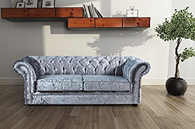 Lovesofas Jackson Chesterfield 3 Seater Sofa Crushed Velvet - Silver by Love Sofas