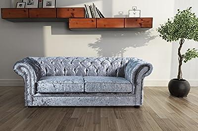 Lovesofas Jackson Chesterfield 3 Seater Sofa Crushed Velvet - Silver by Love Sofas