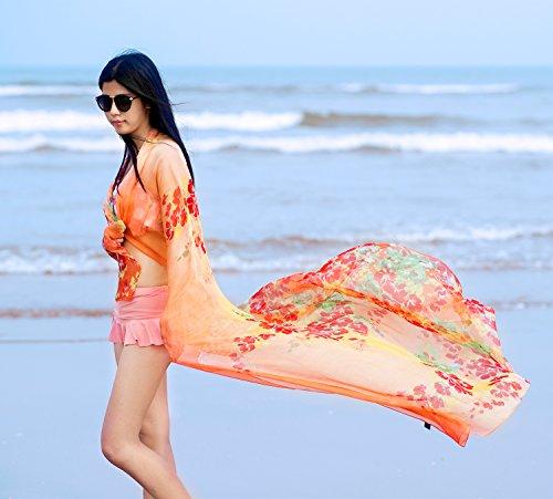 DAMILY Strandkleider Damen Bunte Blumen Pareo Bikini Wickelkleid Orange