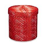 Relaxdays faltbarer Sitzhocker mit Stauraum HBT ca. 38 x 38,5 x 38,5 cm Sitzwürfel runder Hocker mit trendigem Obst Motiv Falthocker Sitzbank mit Aufbewahrungsbox mit ca. 30 l Stauraum, Erdbeere