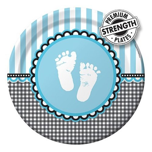 Creative Converting Sweet Baby Füße Blau Rund Abendessen Teller, 8Zählen